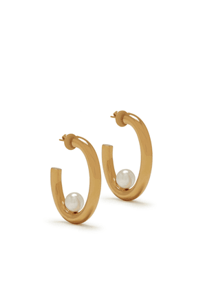 Mulberry Links Large Pearl Earrings in Gold and Mother of Pearl Brass and Synthetic Pearl