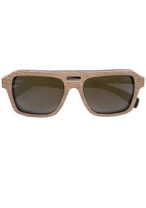 Gold And Wood 'Ashbury' sunglasses - Brown