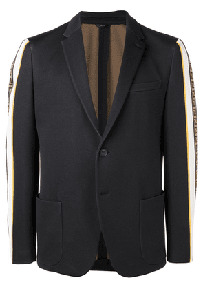 Fendi FF side stripe blazer - Black