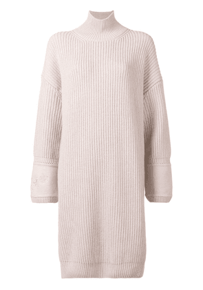 Fendi embroidered cuff knitted dress - Pink