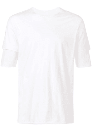Attachment layered sleeve T-shirt - White