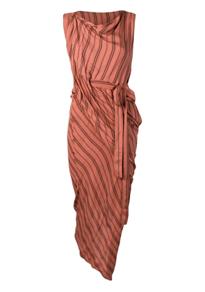 Vivienne Westwood striped asymmetric dress - Brown
