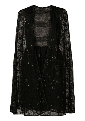 Giambattista Valli lace-embroidered flared dress - Black