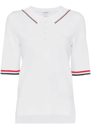 Thom Browne striped-tipping polo shirt - White