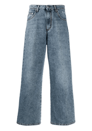 MSGM cropped distressed jeans - Blue