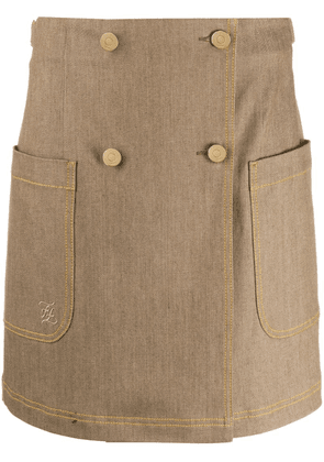 Fendi double-breasted high-waisted skirt - Brown