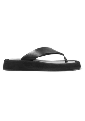 The Row - Ginza Leather And Suede Platform Flip Flops - Black