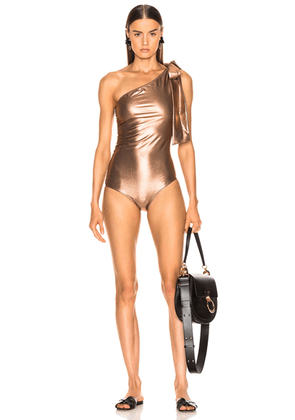 Lisa Marie Fernandez Arden Ruched Tie Maillot Swimsuit in Rose Gold - Metallic. Size 2 (also in ).