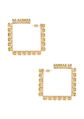 AREA Medium Square Hoop Earrings in Fluo - Yellow. Size all.