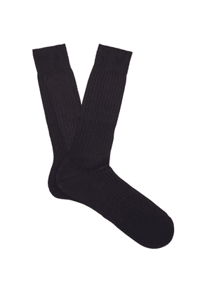 Pantherella - Danvers Ribbed-knit Socks - Mens - Navy