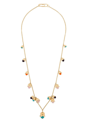 Aurelie Bidermann beaded flower charm necklace - Metallic