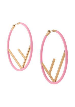 Fendi F logo hoop earrings - Pink