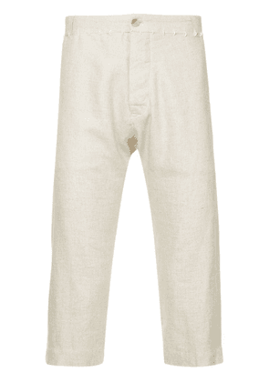 A New Cross stitch detail cropped trousers - Neutrals