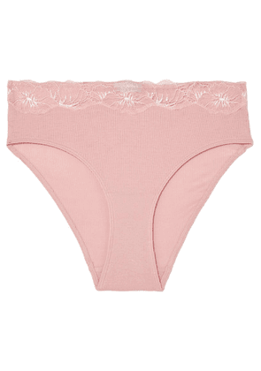 Hanro - Lace-trimmed Ribbed Cotton-jersey Briefs - Blush