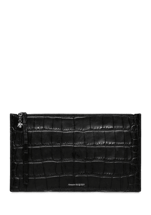 Zip Tec Croc Embossed Leather Pouch
