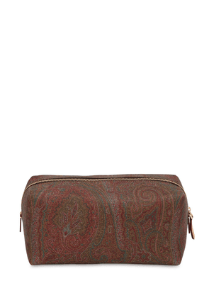 Paisley Print Coated Cotton Makeup Bag