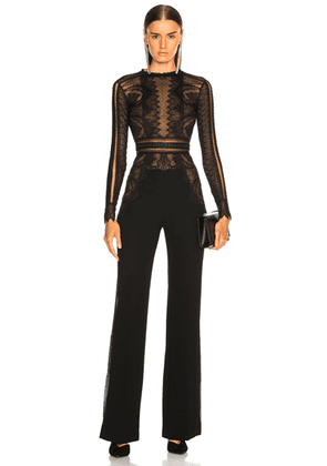 Zuhair Murad Lace Long Sleeve Jumpsuit in Black - Black. Size 42 (also in ).