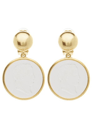 Gold-Tone Cameo Clip-On Drop Earrings