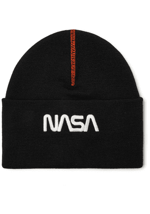 Heron Preston - + Nasa Embroidered Wool-blend Beanie - Black