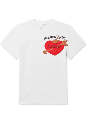 Helmut Lang - Logo-embroidered Printed Cotton-jersey T-shirt - White