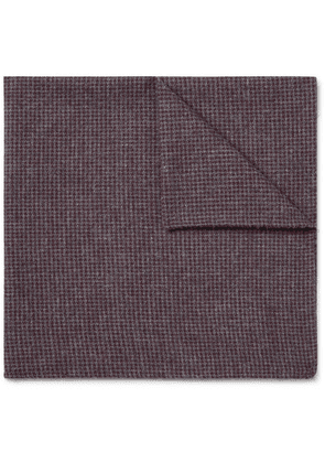 Oliver Spencer - Checked Organic Cotton-blend Pocket Square - Burgundy