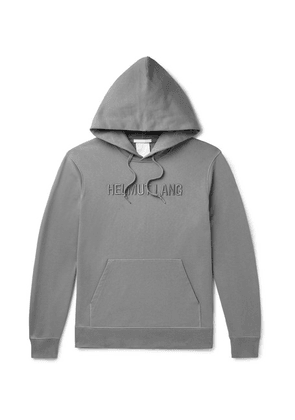 Helmut Lang - Logo-embroidered Loopback Cotton-jersey Hoodie - Gray