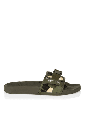 REY/M Army Mix Camo Print Nylon Sliders with Belt Detail