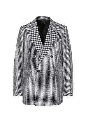 AMI - Black Oversized Double-breasted Houndstooth Virgin Wool-blend Blazer - Black