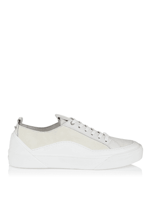CHOO V.B.C LACE UP/M White Lace Up Trainers in Suede and Soft Leather