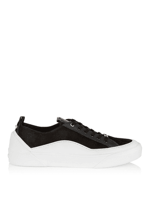 CHOO V.B.C LACE UP/M Black and White Lace Up Trainers in Suede and Soft Leather