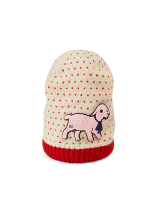 Heart wool hat with lamb patch