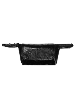 SAINT LAURENT - Niki Medium Quilted Crinkled Glossed-leather Belt Bag - Black