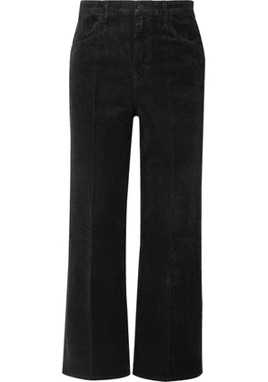 J Brand - Joan Cropped Cotton-blend Corduroy Wide-leg Pants - Black