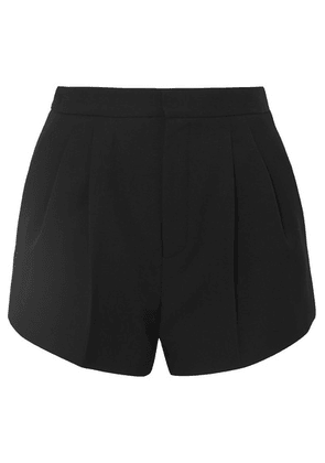 SAINT LAURENT - Belted Pleated Grain De Poudre Wool Shorts - Black