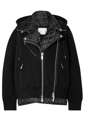 Sacai - Hooded Quilted Shell-paneled Cotton-blend Jersey Biker Jacket - Black