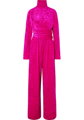 Balenciaga - Draped Crushed-velvet Jumpsuit - Fuchsia