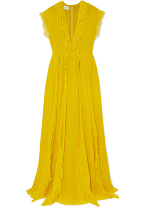 Giambattista Valli - Ruffled Lace-trimmed Silk-georgette Gown - Saffron