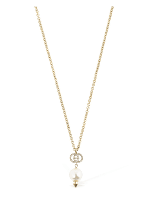 Long Gg Imitation Pearl Chain Necklace