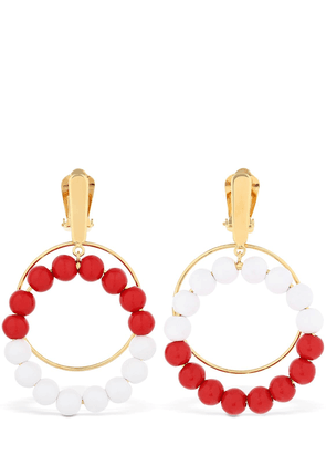 Beaded Hoop Clip-on Earrings