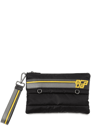 Logo Patch Quilted Nylon & Leather Pouch