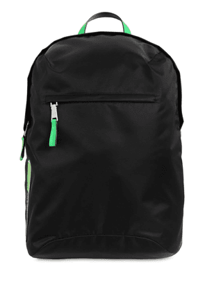 Logo Patch Nylon & Leather Backpack