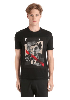 Printed Faces Cotton Jersey T-shirt