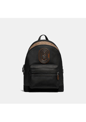 Coach Academy Backpack With Signature Canvas Blocking And Patch