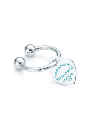 Return to Tiffany™ heart tag key ring in sterling silver with enamel finish