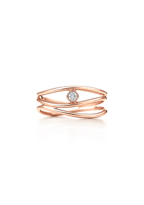 Elsa Peretti® Wave three-row diamond ring in 18k rose gold - Size 6 1/2