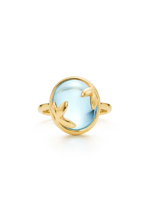 Paloma Picasso® Olive Leaf ring in 18k gold with a blue topaz - Size 8