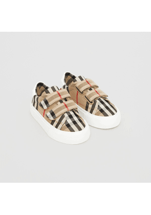 Burberry Childrens Vintage Check Cotton Sneakers, Size: 23, White