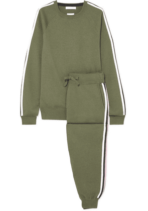 Olivia von Halle - Missy Milan Striped Silk-blend Sweatshirt And Track Pants Set - Green
