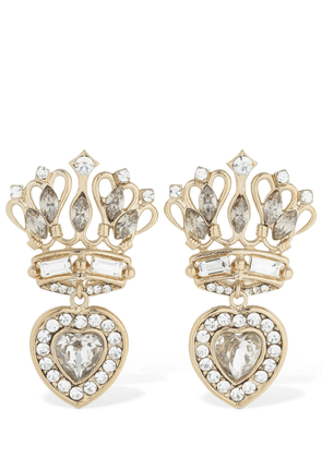 Small Crown & Heart Earrings W/ Crystals