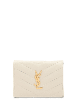 Metal Logo Quilted Leather Wallet